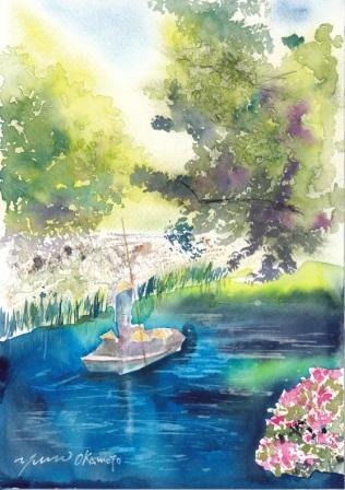 6月の朝日カルチャー 風景画コース 柳川
