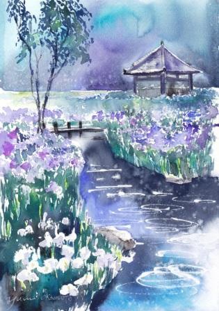 6月朝日カルチャー風景画コース 雨の永沢寺