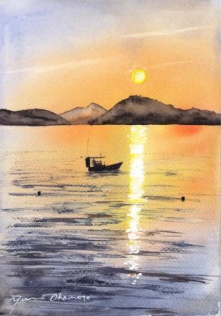 7月の水彩色えんぴつ教室 周防大島の朝焼け