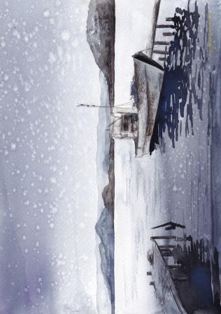 12月朝日カルチャー 風景画 雪の久美浜