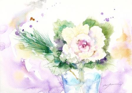 12月水彩色えんぴつ教室 モチーフ 葉牡丹と松