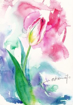 2月の水彩色えんぴつ教室 チューリップ