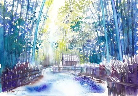 8月水彩色えんぴつ教室 風景画向日市 竹の径