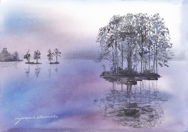 10月水彩色えんぴつ教室モチーフ 霧の湖畔