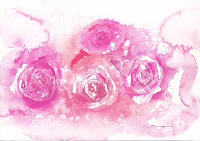 12月水彩色えんぴつ aqua rose