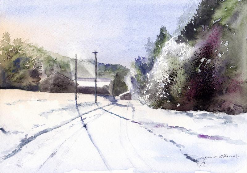 1月朝日カルチャーセンター風景画コース 雪の道