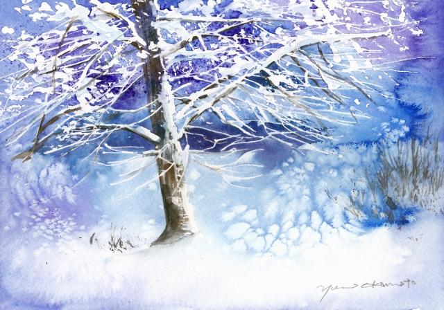 1月の水彩色えんぴつ ice tree