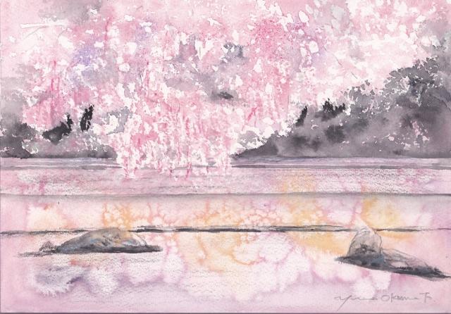 3月朝日カルチャー風景画 しだれ桜と龍安寺