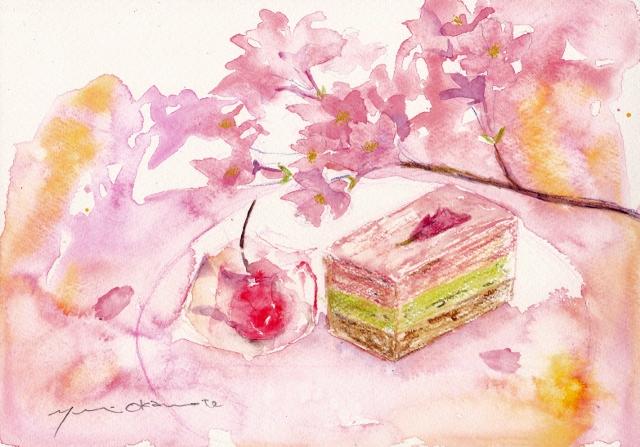 3月の水彩色えんぴつ教室 和菓子と桜