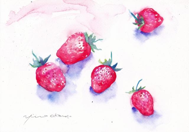 4月水彩色えんぴつ教室 イチゴ