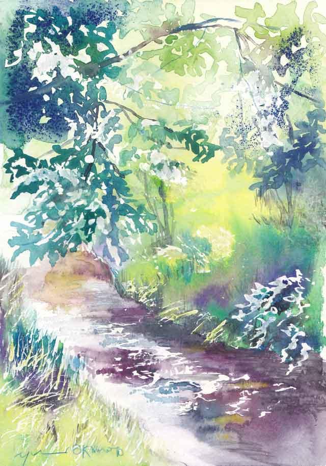 5月朝日カルチャー風景画コース 木立の中の川