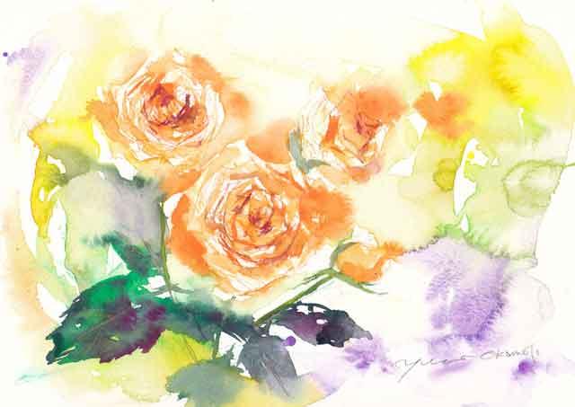5月水彩色えんぴつ教室 rose sara