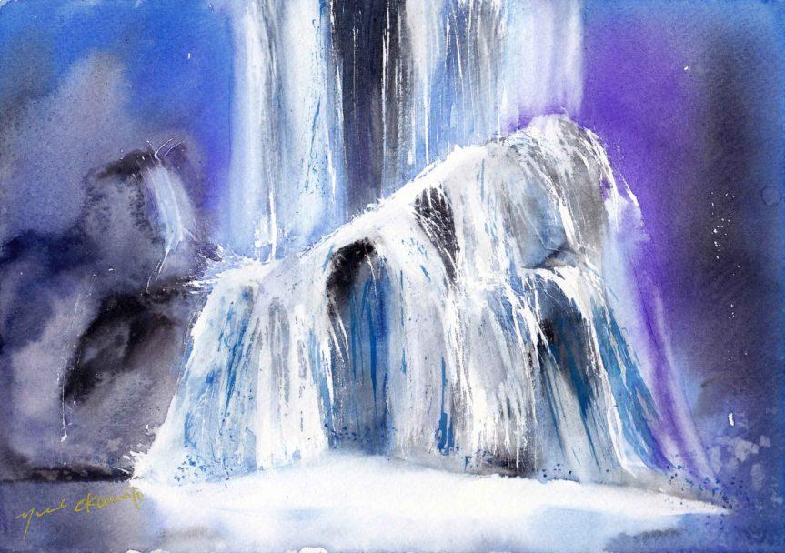 5月の水彩色えんぴつ教室 Blue waterfall