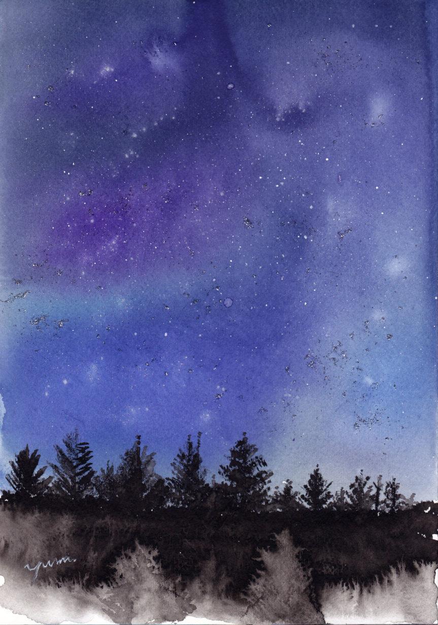 7月の水彩色えんぴつ教室 星空