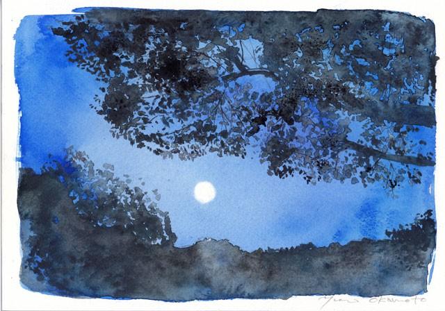 9月 水彩色えんぴつモチーフ 月の夜