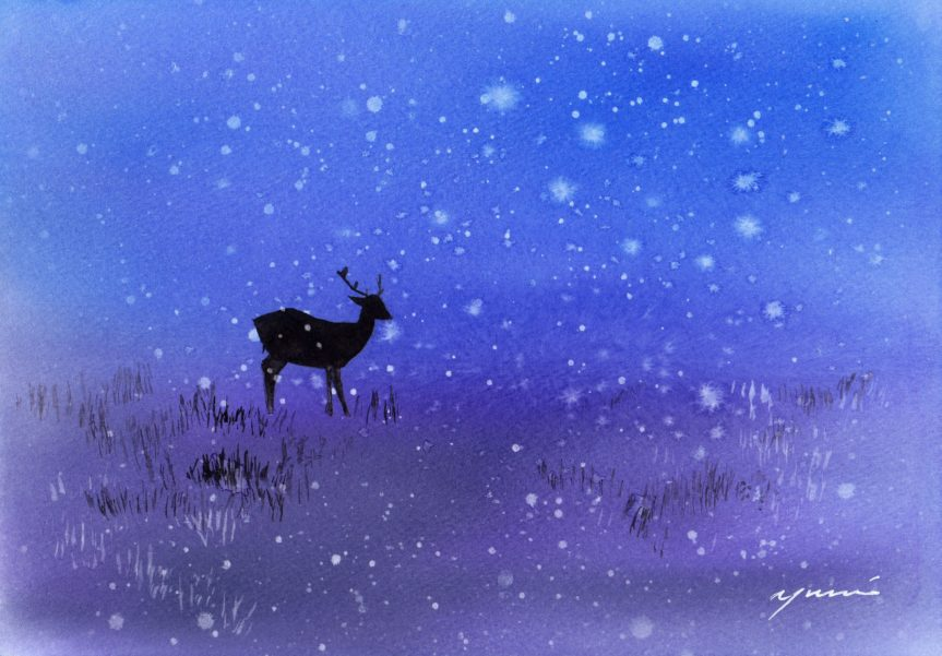 10 月水彩色えんぴつ教室 モチーフ Deer in snow