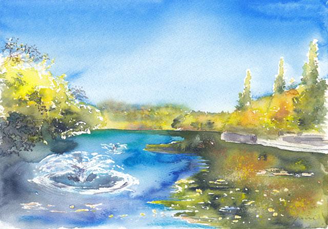 11月の朝日カルチャー 風景画コース 公園