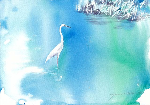 1月の水彩色えんぴつ教室 川辺のとり