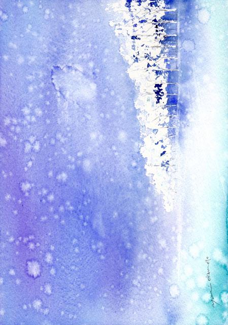 1月水彩色えんぴつ教室 雪の日