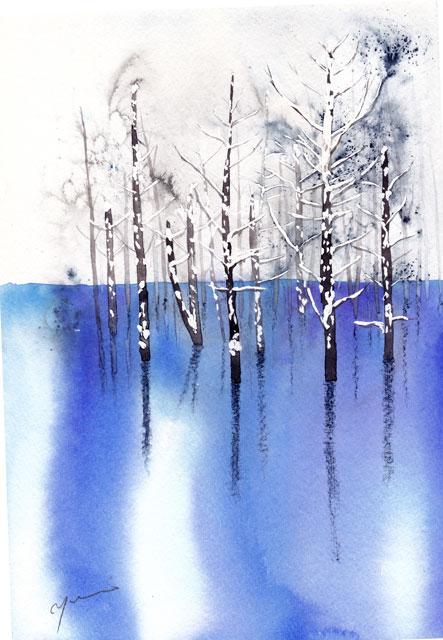 2月水彩色えんぴつ教室 モチーフ 青い池