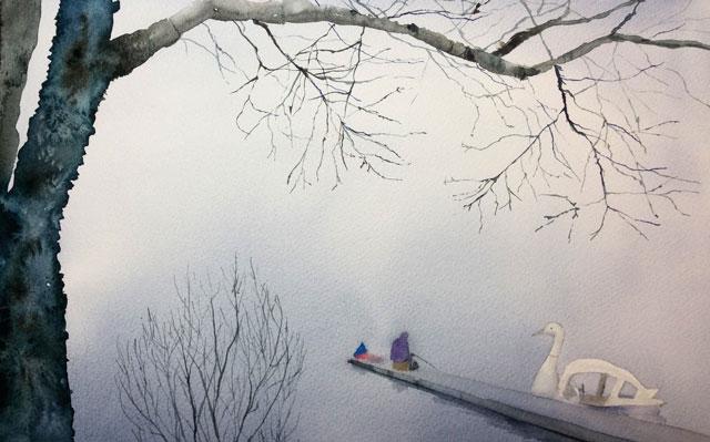 産経学園 透明水彩 風景画 3月