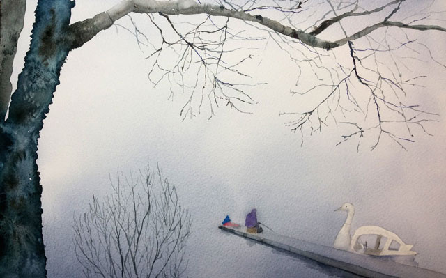 3月朝日カルチャー風景画コース 湖畔