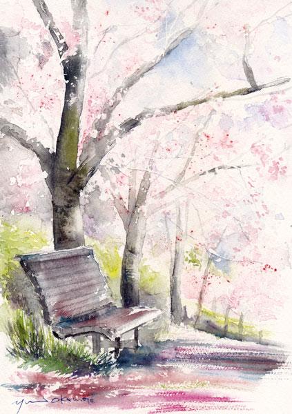4月朝日カルチャー 風景画 桜の道