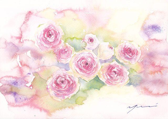 5月水彩色えんぴつ バラ