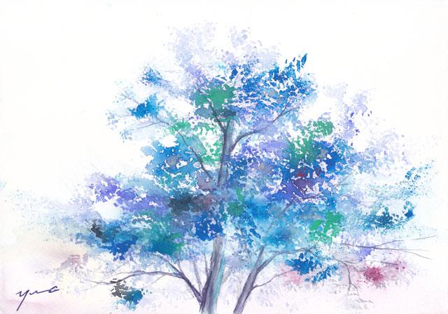 6月水彩色えんぴつ tree