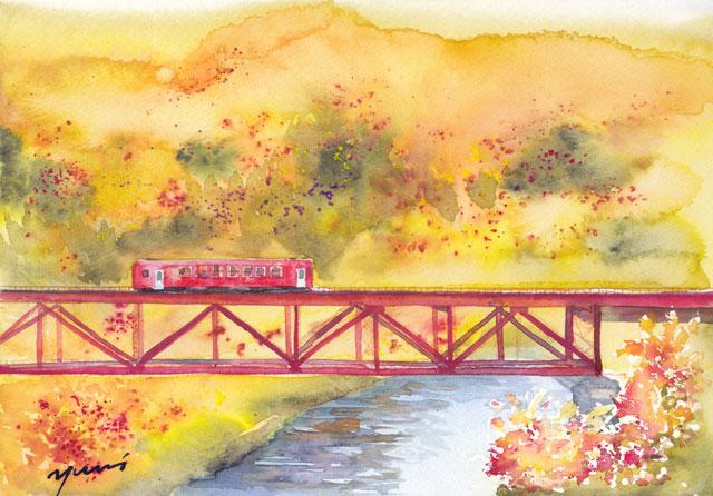 10月朝日カルチャー 風景画コース 紅葉の中を走る電車