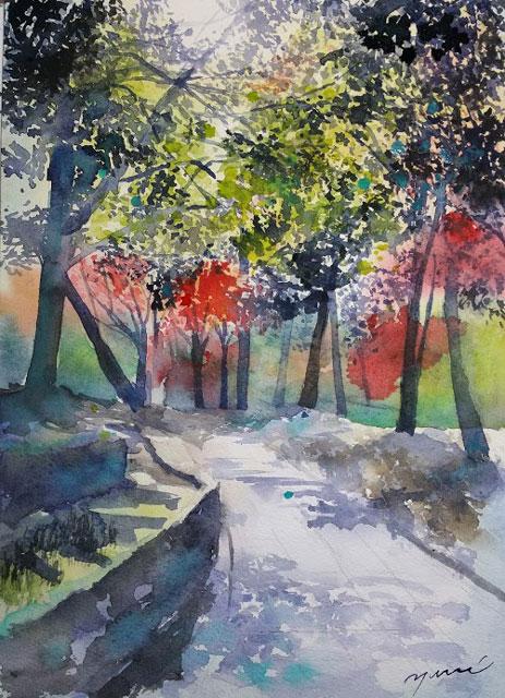 10月産経学園 透明水彩 風景画 秋の小路