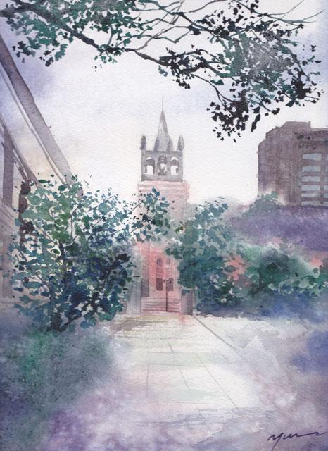 11月産経学園 透明水彩風景画 栄光教会
