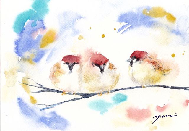 12月水彩色えんぴつモチーフ スズメ