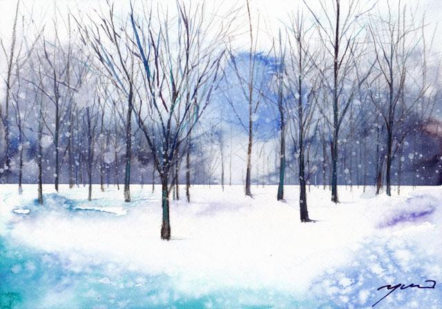 12月水彩色えんぴつ 雪舞う木立