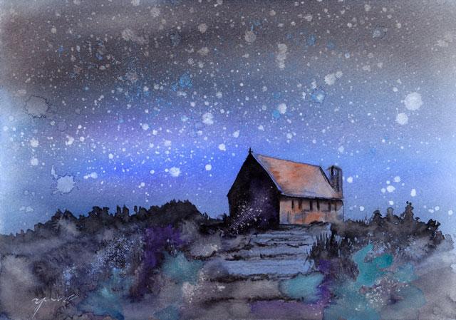 1月朝日カルチャー風景画コース NZ善き羊飼いの教会