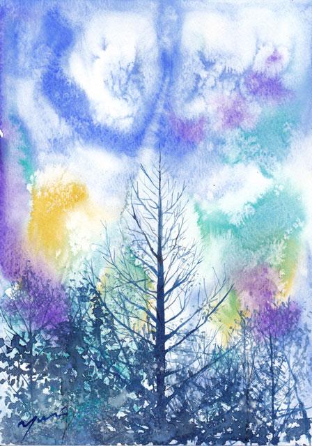1月水彩色えんぴつ教室 木立