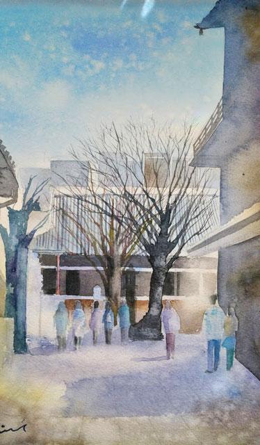 1月産経学園透明水彩 本能寺