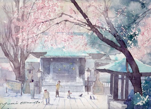 3月産経学園 透明水彩 風景画 上野公園五條天神社