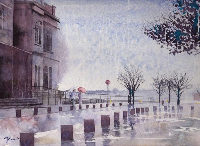 産経学園 透明水彩 雨の門司港