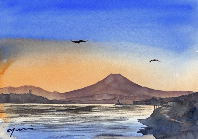 6月水彩色えんぴつ教室 江ノ島の夕景