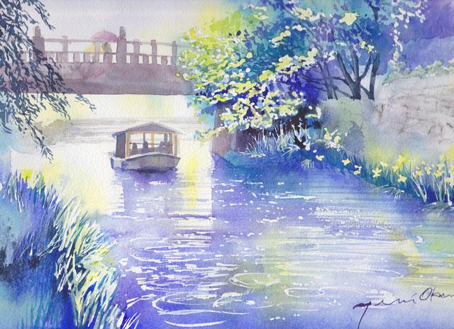 6月産経学園 透明水彩 雨の近江八幡