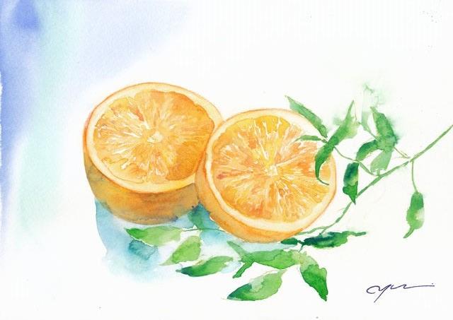 6月水彩色えんぴつ教室 orange
