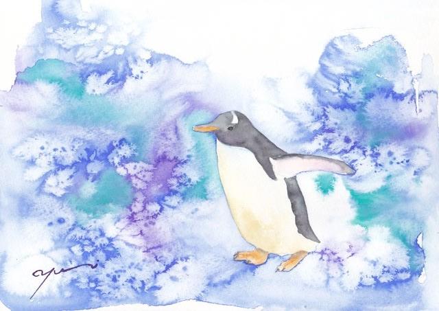 7月水彩色えんぴつ教室 ペンギン