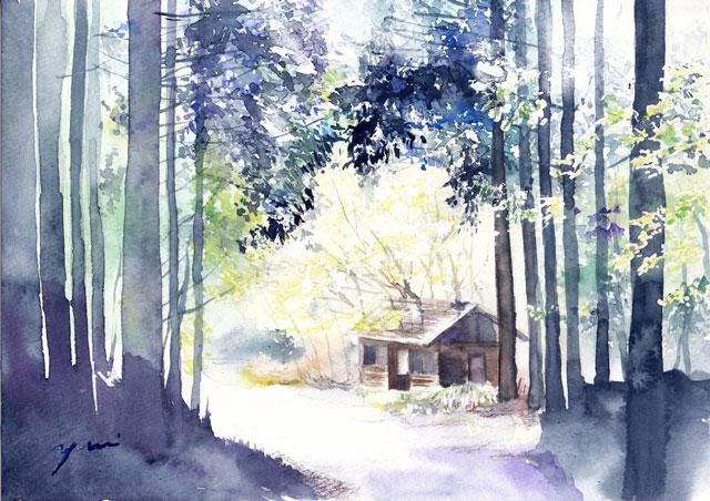 7月水彩色えんぴつ 風景画コース「向こうへ」