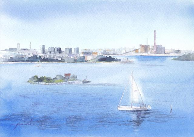 8月水彩色えんぴつ風景画コース「ヘルシンキの港」