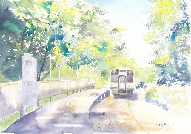 8月水彩色えんぴつ 会津鉄道