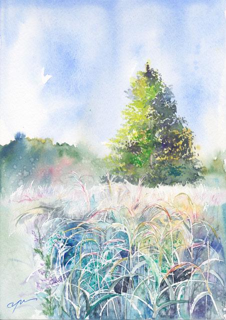 9月水彩色えんぴつ風景画コース 「高原の朝」