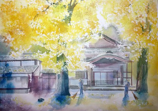 10月産経学園 透明水彩 風景画 清荒神清澄寺