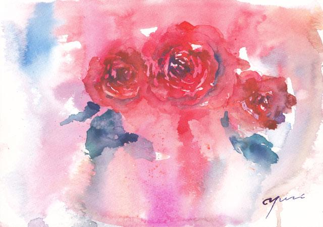10月水彩色えんぴつ教室 rose