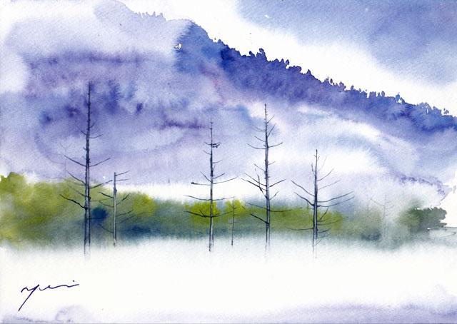 11月水彩色えんぴつ教室「靄の上高地」